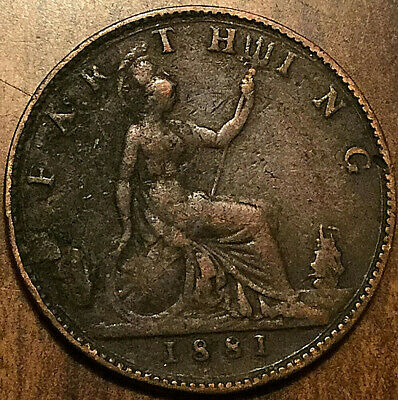 1881 Uk Great Britain Victoria Farthing Coin