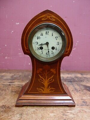 Small Edwardian Antique Inlaid Mahogany Art Nouveau Design Mantle Clock
