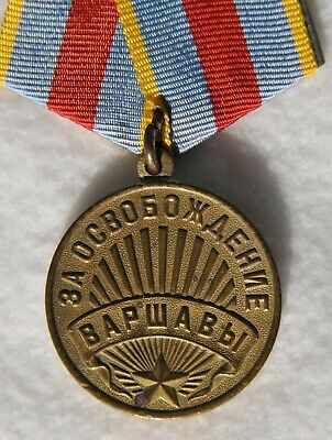 1945y. RUSSIAN SOVIET MILITARY MEDAL WARSAW ORDER WAR WWII AWARD BADGE USSR PIN