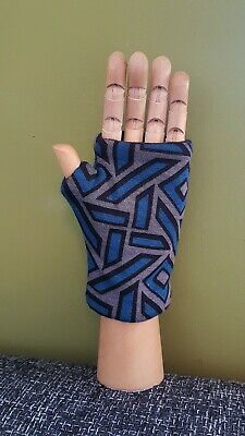 Blue Black Grey Pattern Stretch Hand Warmer Fingerless Gloves Mitts Fleece Lined