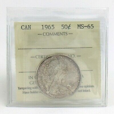 ICCS Graded Mint State 65 Canada 1965 Fifty 50 Cent Half Dollar Coin I869