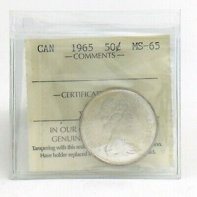 ICCS Graded Mint State 65 Canada 1965 Fifty 50 Cent Half Dollar Coin I870