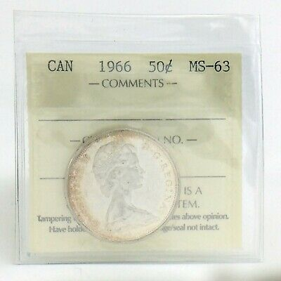 ICCS Graded Mint State 63 Canada 1966 Fifty 50 Cent Half Dollar Coin I871