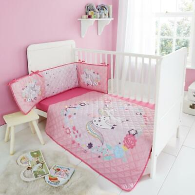Luxury Nursery-Baby Bedding Set Coverlet Bumper-Fitted Sheet 3 Pieces Cot Bed
