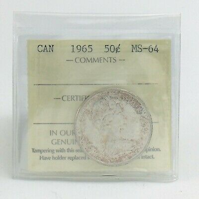 ICCS Graded Mint State 64 Canada 1965 Fifty 50 Cent Half Dollar Coin I872
