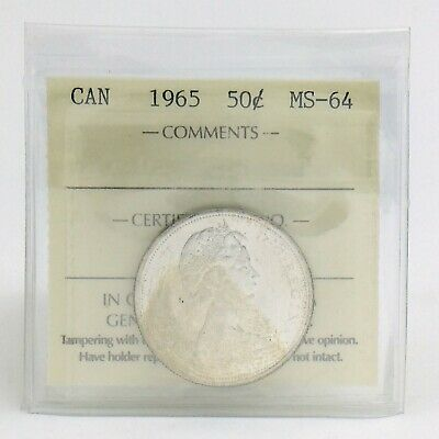ICCS Graded Mint State 64 Canada 1965 Fifty 50 Cent Half Dollar Coin I873