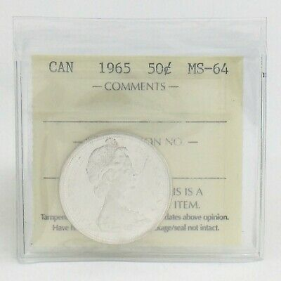 ICCS Graded Mint State 64 Canada 1965 Fifty 50 Cent Half Dollar Coin I874