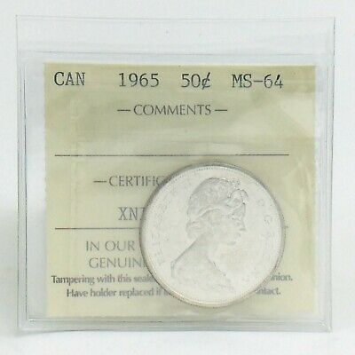 ICCS Graded Mint State 64 Canada 1965 Fifty 50 Cent Half Dollar Coin I875