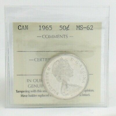 ICCS Graded Mint State 62 Canada 1965 Fifty 50 Cent Half Dollar Coin I876