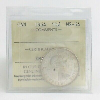 ICCS Graded Mint State 64 Canada 1964 Fifty 50 Cent Half Dollar Coin I877