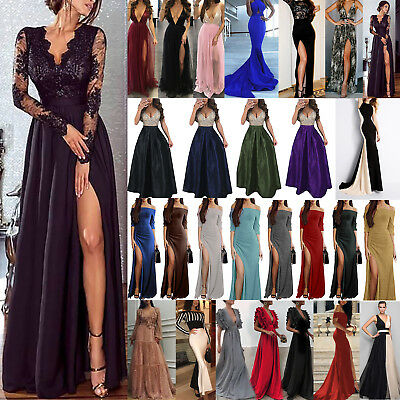 Womens Lace Party Dress Evening Cocktail Formal Split Long Maxi Dresses Prom UK