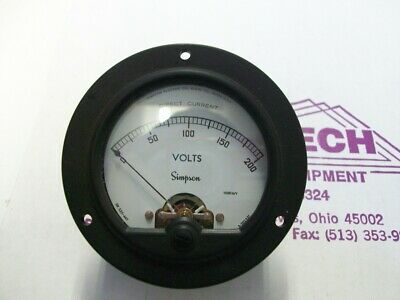 Simpson Electric Round Style Analog Panel Meter DC Ammeters 0-200 Volts