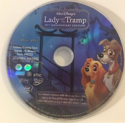 Lady and the Tramp Disney 50th Anniversary Edition Disc 1 Only NO Case NO Code