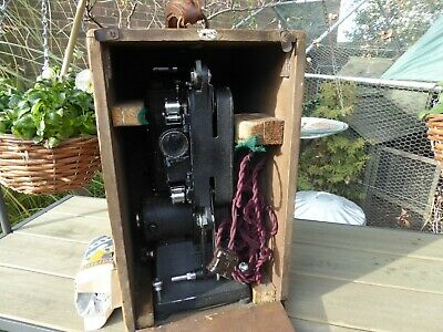 vintage Specto Cine Film Projector with wooden box untested but everything moves