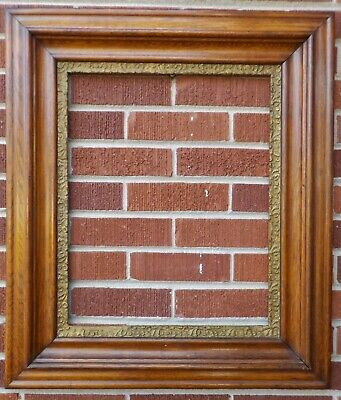 Antique 19C Victorian LARGE Double Tiered Solid OAK WOOD Frame 16 x 20 fit