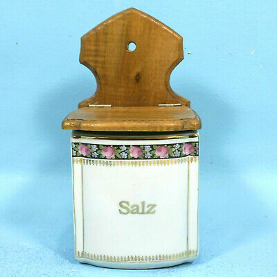 Antique German Porcelain Kitchen Wall CANISTER SALT SALZ Roses Black/Gold c1900