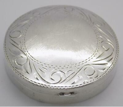 Vintage Sterling Silver 925 Italian Made Round Chiseled Pill / Snuff Box, Stamp