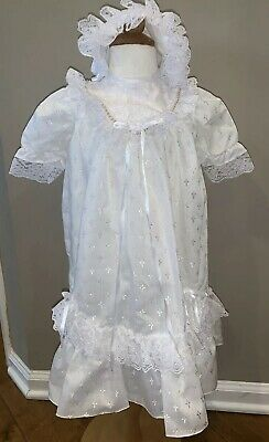 O-3 M Vintage White Lace Christening Gown And Bonnet Crosses Stiched In Fabric