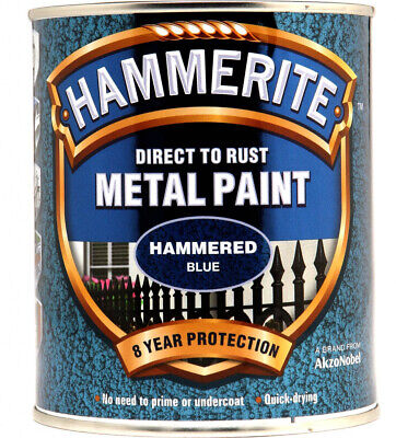 Hammerite Direct To Rust Metal Hammered Blue 750ml Free 48HR P&P