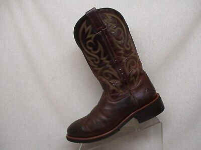9bf32322684 DOUBLE H BROWN Leather Steel Toe Cowboy Western Work Boots DH 2337 Mens Sz  8.5 D