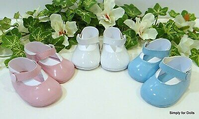"""Set 3 PINK WHITE BLUE Patent Mary Jane DOLL DRESS SHOES fits 18"""" AMERICAN GIRL"""