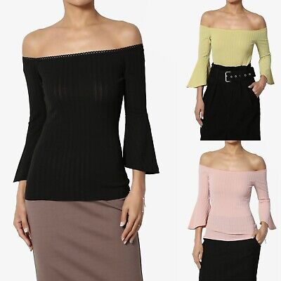 ce1a896fc9f44 TheMogan 3 4 Flared Bell Sleeve Scalloped Off Shoulder Ribbed Knit Fitted  Top