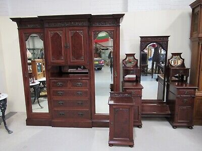 Waring And Gillows Victorian 3 Piece Bedroom Suite Stunning Mahogany 1 Off Find