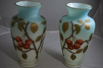 Two 19th Century English Bristol Blue Glass Vases, Hand Painted with Cherry Tree