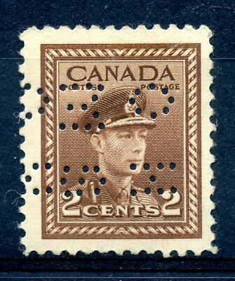 Weeda Canada O250 FX F/VF MLH double perfin, 4-hole OHMS official, 2c War Issue