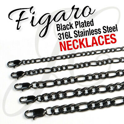 "Black Plated Stainless Steel 316L Figaro Chain Necklace Men Women 14""-48"" 4-10mm"