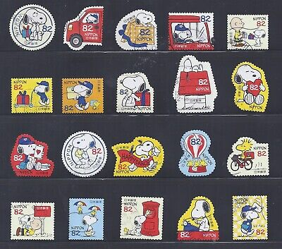 Japan 2017 Peanuts Snoopy Charlie Brown Complete Used Set of 20 Sc# 4103-4 a-j