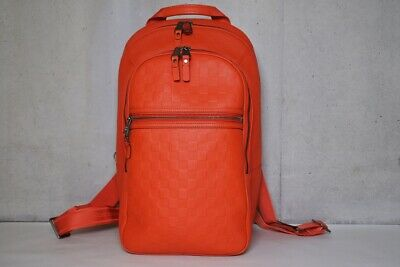 00ce7e4f1e76 Louis Vuitton Damier Infini Michael Backpack Daypack Orange Leather Y142