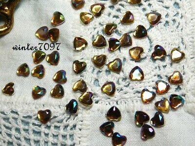 (97)*Costume Makers Sellout*Flat Back Rhinestones*Gold Rainbow*Hearts*New!**
