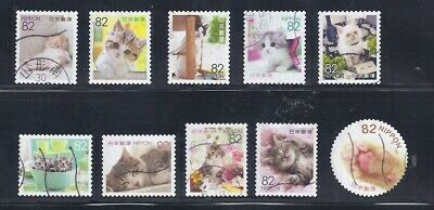 Japan 2018 Familiar Animals Cats Complete Used Set Sc# 4188 a-j 82Y