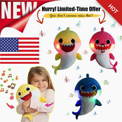 2019 Baby Shark Plush LED Singing Plush Toys Music Doll English Song Gift kids