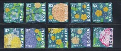 Japan 2018 Flowers in Daily Life Complete Used Set of 10  82Y