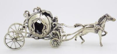 Vintage Solid Silver Italian Made Princess Carriage Large Miniature, Hallmarked