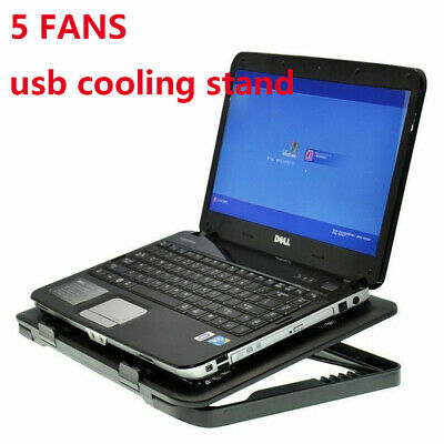"""Fit 7""""-17"""" Adjustable Height Laptop Notebook Cooling Pad Stand 5 Fans Blue LED"""