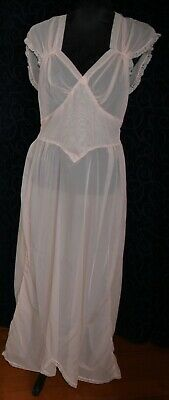 vintage long negligee soft nylon PEACH lace trims 96cm tie waist handmade 1940s