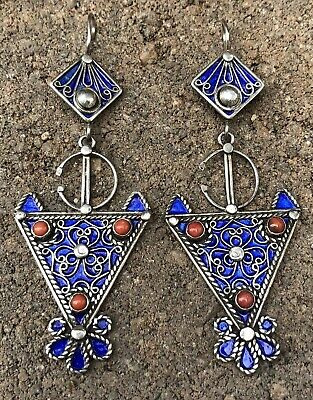 """HUGE Antique Old Chinese Sterling Silver & Blue Enamel & Red Coral Earrings 3.5"""""""