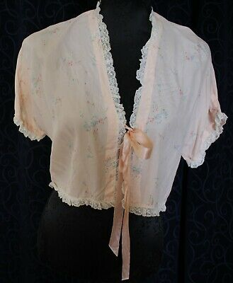 vintage handmade 1940s BED JACKET peach floral satin bow lace silky 108cm at bow