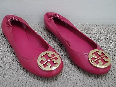 22167987f90 TORY BURCH  225 Reva dark fuchsia leather gold logo ballet flats sz 10 WORN  ONCE