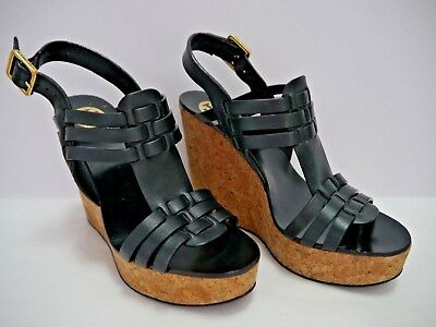 60d0a7bc27b2 TORY BURCH LESLIE black leather strappy wedge heels sandals size 7.5 WORN  ONCE