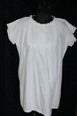 vintage antique white cotton night shirt nightie lace pin tucks 146cm chest b