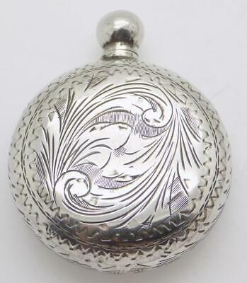 Vintage Solid Silver Italian Made Chiseled Round Perfume Bottle, Stamped, Usable
