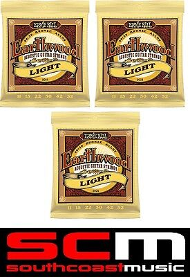 3xSETS* EARTHWOOD 2004 ERNIE BALL ACOUSTIC GUITAR STRINGS STRING SET 11-52 LIGHT