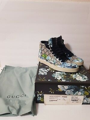 fdefc5eb7d7 Gucci Supreme GG Canvas Blue Bloom Print Fabric Hi Top Sneaker Shoes 407342  8470