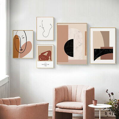 Geometric Abstract Canvas Poster Line Drawing Wall Art Print Vintage Picture