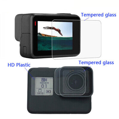 Screen Protector Tempered Glass Lens Film For GoPro Hero7Black 6/5 + Cover & Cap