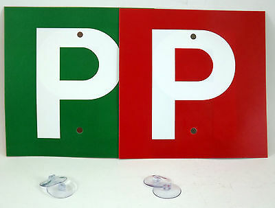 Driver Plates P & P in Red/Green  with 4 Suction Cups for Probationary Drivers